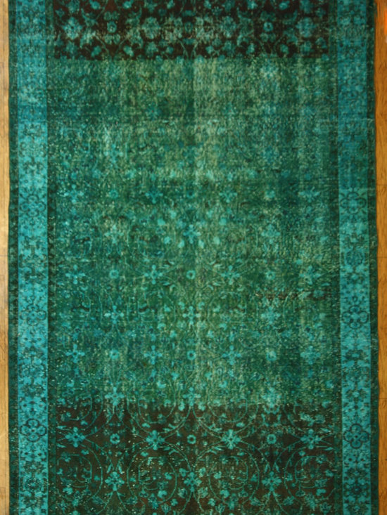 Aqua Overdyed Rug - Rich color with hints of underlying pattern revive well-loved vintage Turkish carpets into a truly fabulous area rug.