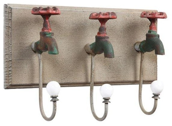 Iron Faucet Wall Hooks eclectic-hooks-and-hangers