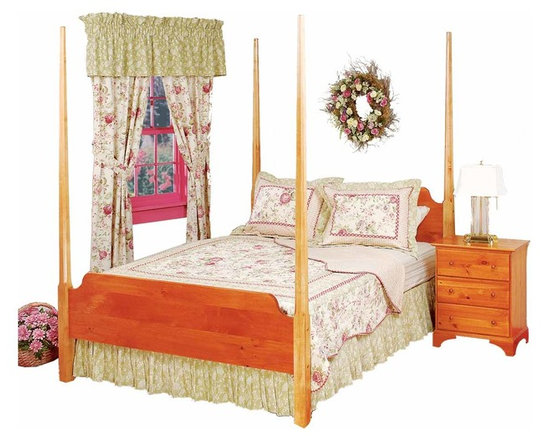 Renovators Supply - Beds Heirloom Pine Queen Pencil Post Bed With Maple Post | 178515 - Shaker Pencil Post Bed Heirloom Stain. Nothing short of spectacular! The beveled solid maple posts are an impressive 81 in. high. Classic- solid pine head and footboards complete this four poster bed. It fits a standard queen size bedframe 64 1/2 in. W x 86 in. L (bed frame not included). This bed comes with an HEIRLOOM STAIN finish. It arrives partially knocked down with instructions on how to reassemble.