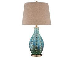 Coastal Mid-Century Ceramic Vase Teal Table Lamp beach-style-table-lamps