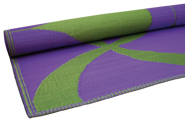 Waves Print Floor Mat Green And Purple Contemporary