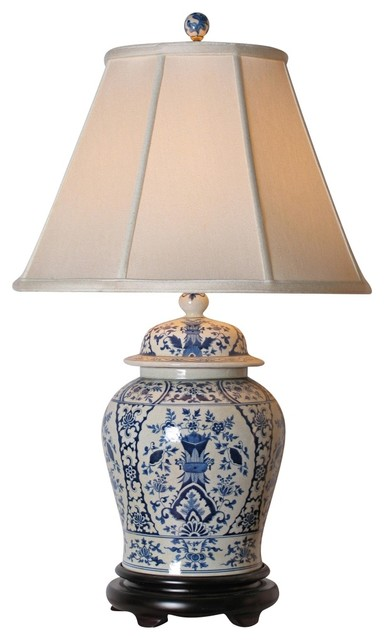 english blue and white porcelain temple jar table lamp. Black Bedroom Furniture Sets. Home Design Ideas