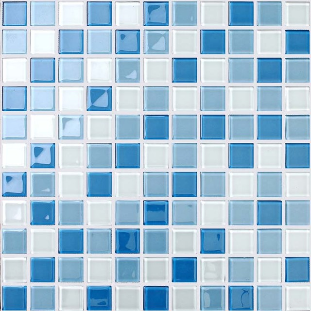 glass mosaic for swimming pool tile blue white mix crystal