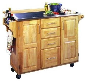 Home styles kitchen cart in natural wood with stainless for Home styles natural kitchen cart with storage