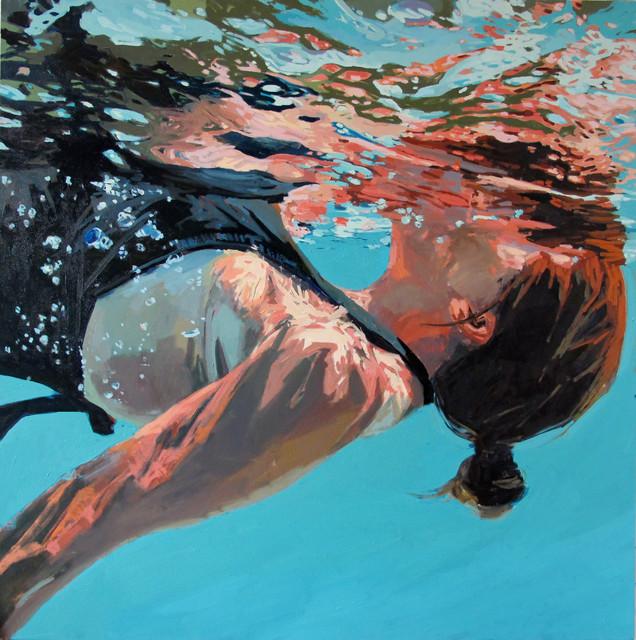 Underwater Oil Paintings Underwater Swimmer Oil...