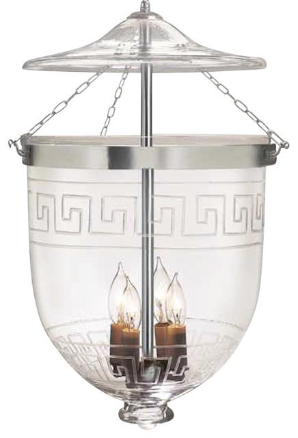 "Greek Key Etching Hundi Glass Bell Jar Lantern 9""D, Antique Brass - Contemporary - Pendant ..."
