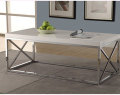 Glossy White/ Chrome Metal Cocktail Table contemporary-coffee-tables