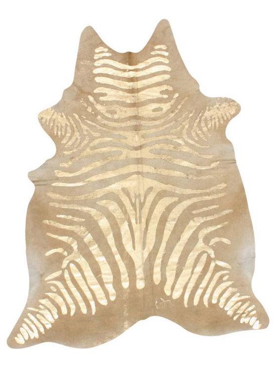 Silkscreen Zebra Cowhide Natural Rug -