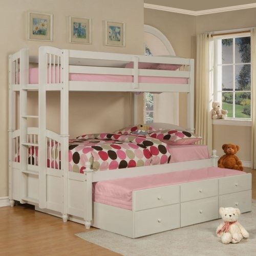 White Twin Over Full Bunk Bed with Trundle 500 x 500