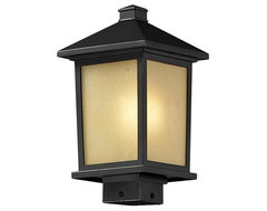 One Light Oil Rubbed Bronze Tinted Seedy Glass Post Light craftsman-post-lights