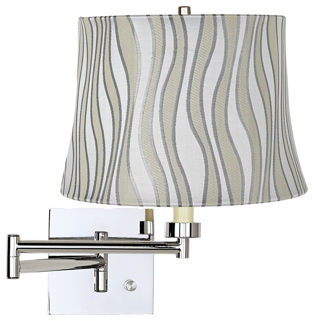 Contemporary Grey Curved Stripes Drum Shade Chrome Plug-In Swing Arm Wall Lamp - Contemporary ...