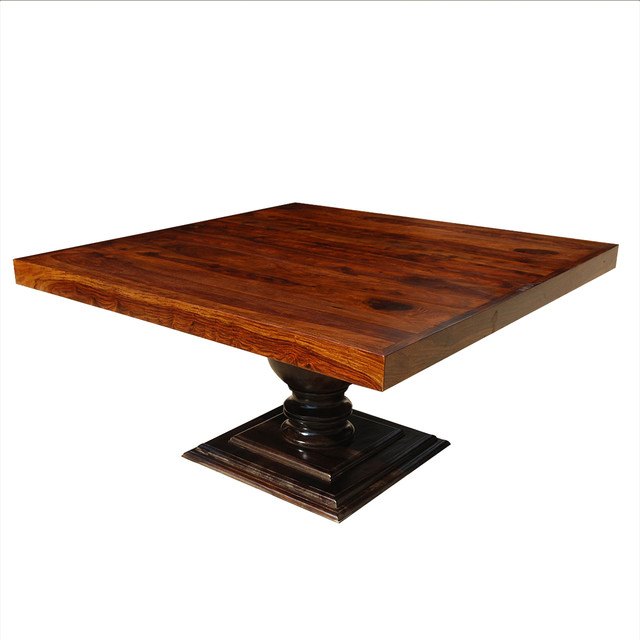 "60"" Square Solid Wood Pedestal Dining Table For 8"