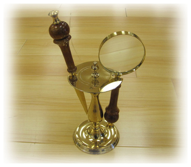 Handcrafted Antique Replica Brass Magnifying Glass & Letter Opener Desk Set desk-accessories