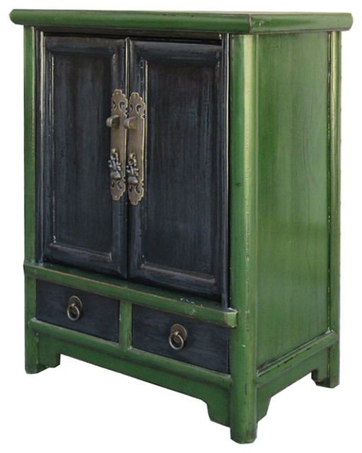 Old Bedside Table: Chinese Antique Green Black Nightstand End Table Cabinet