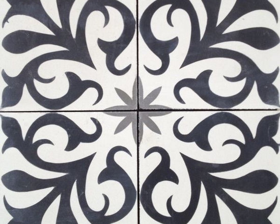 "In Stock Cement Tile - ""Nantes"" cement tile in Black, White and Charcoal"