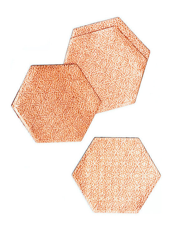 Metallic Leather Hexagon Coasters, Copper, Set of 4 -