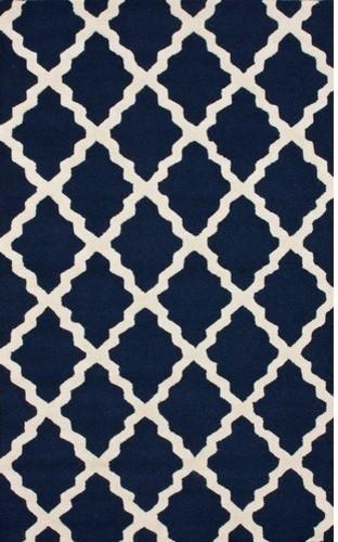 Marbella Moroccan Trellis Navy Kilim Rug modern-rugs