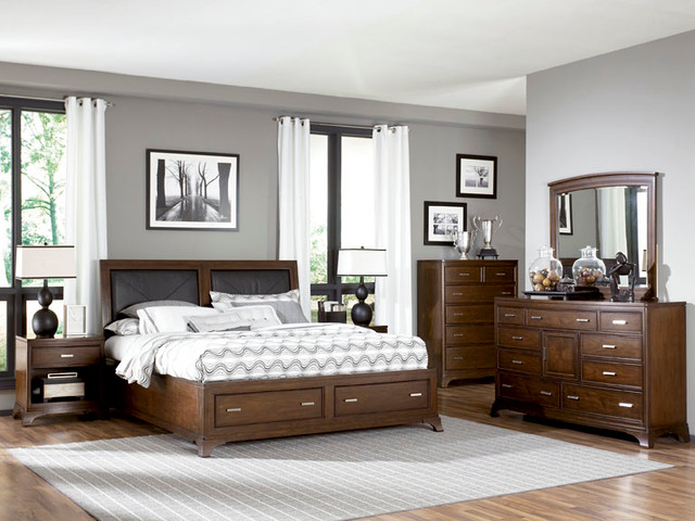 Low Profile Sleigh Bed W/Storage Footboard 6/6 104-337R by American Drew Essex traditional-bedroom-furniture-sets