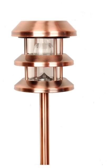 Contemporary Copper Solar LED 16 1 4 High Lantern Landscape Light Con