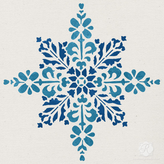 Embroidered star moroccan christmas stencil traditional