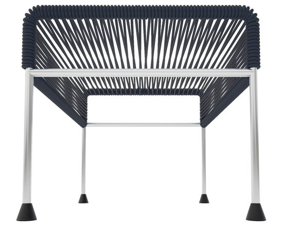 Adam Ottoman, Chrome Frame With Black Weave - Sleek woven vinyl makes this coffee table stand out from the crowd. It's a great option for indoor and outdoor entertaining since the vinyl is UV protected and the metal base is galvanized. The only challenge would be deciding on your favorite color top to pair with the sleek chrome base.