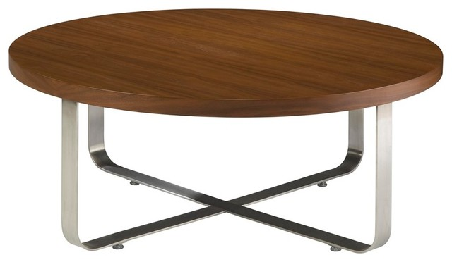Allan Copley Designs Artesia 40 Inch Round Cocktail Table W Walnut Stain Top Modern Coffee