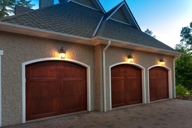 Doors Brown Garage : Wood stained garage doors modern and