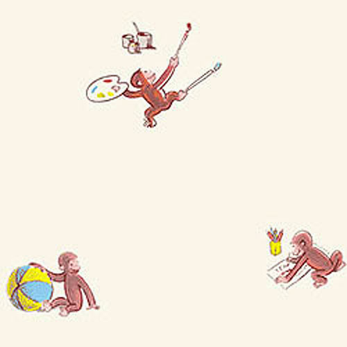 Curious george fun wallpaper roll contemporary for Curious george wall mural