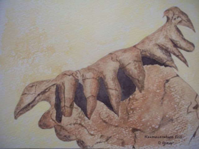 Fossil Kosmoceratops Frill Detail, Original, Painting contemporary-paintings