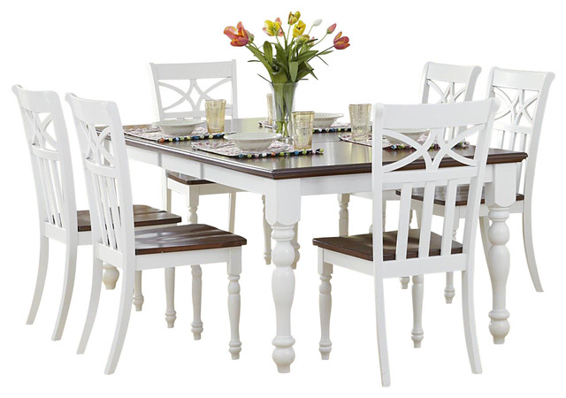 Homelegance Sanibel 7 Piece Dining Room Set In White And