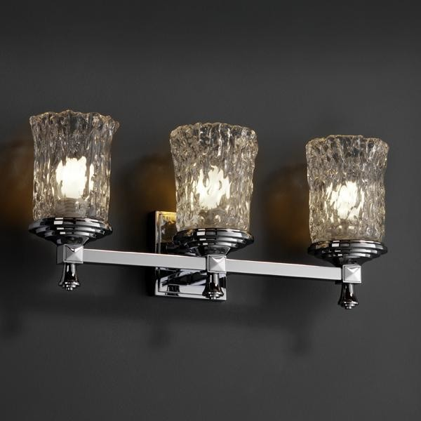 Justice Vanity Lights : Justice Design GLA-8533-16-CLRT-CROM Deco 3-Light Bath Bar Veneto Luce Collectio
