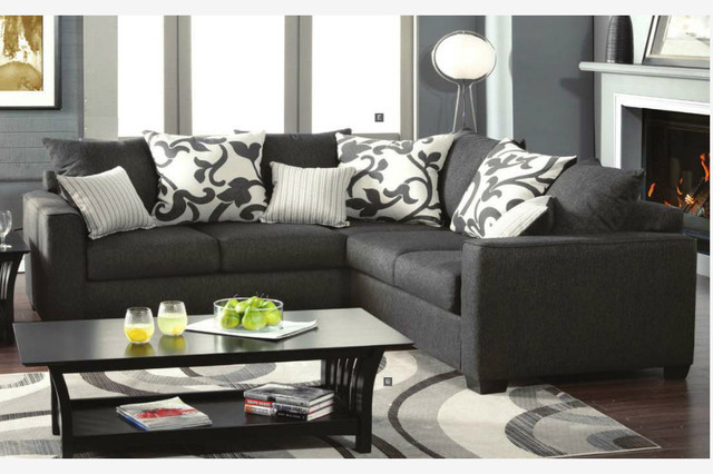 Modern Charcoal Fabric Sectional Sofa Corner Couch Pillow