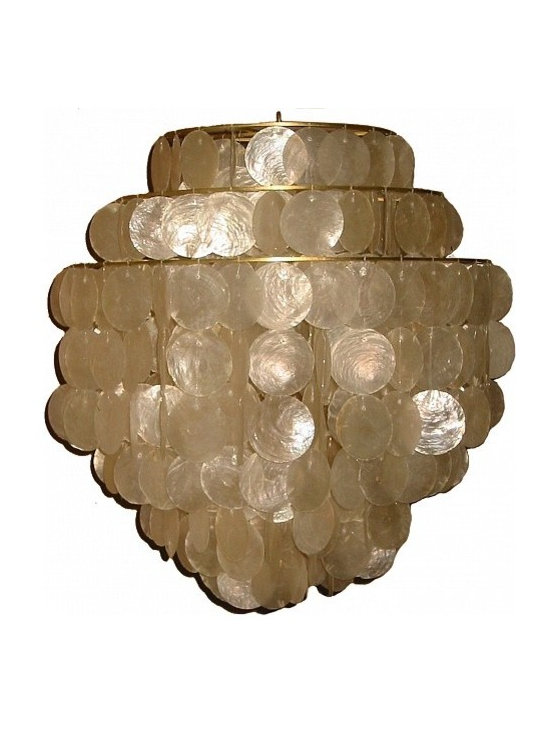 Hydromedusa No. 6 by Gwen Carlton - Quite simply the most luxe, lush and versatile capiz chandeliers available. This classic design staple can be made to almost any size and shape. Enough polish for a chic city apartment, or play up the organic materials at the beach or in the country.