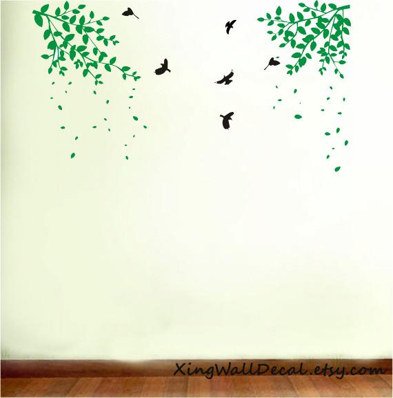 branch wall stickers decals green leaves birds for kids children girl boy baby r modern