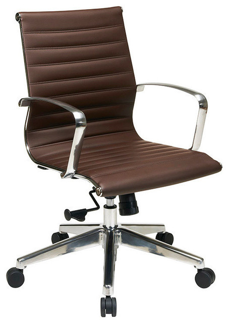 OSP Furniture Hospitality 74618LT Mid Back Chocolate Eco Leather Chair contemporary-task-chairs