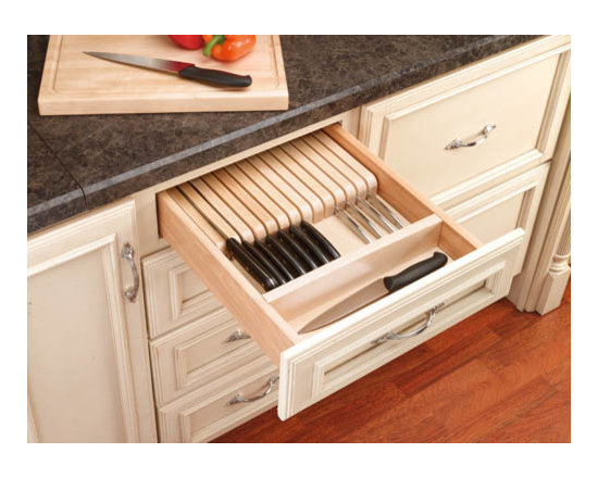 Cabinet Accessories - Trimable Knife Drawer Storage, solid wood