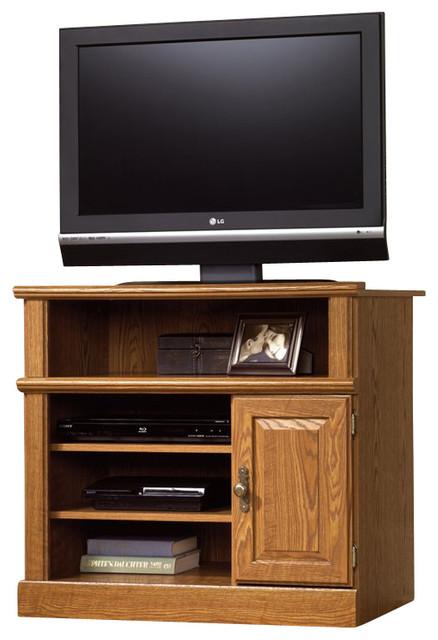 Sauder Orchard Hills Small Highboy TV Stand in Carolina Oak Finish - Traditional - Entertainment ...