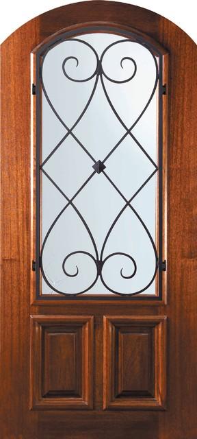 Slab Single Door 80 Mahogany Charleston Arch Top Arch Lite mediterranean-front-doors