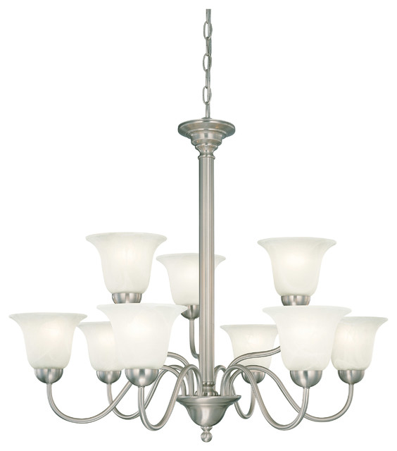 Riva Brushed Nickel 9 Light Chandelier Traditional