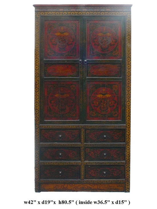 Chinese Tibetan Teasure Vase Grapic Armorie Accent Storage Cabinet - This is an old cabinet restored. The surface has been painted with traditional Tibetan symbol graphic. The main theme is the treasure ribbon , fishes, umbrella and the jar.