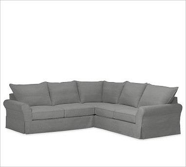 PB Comfort 3-Piece L-Shaped Sectional, Knife-Edge Cushions, Polyester Wrap Cushi traditional-sectional-sofas