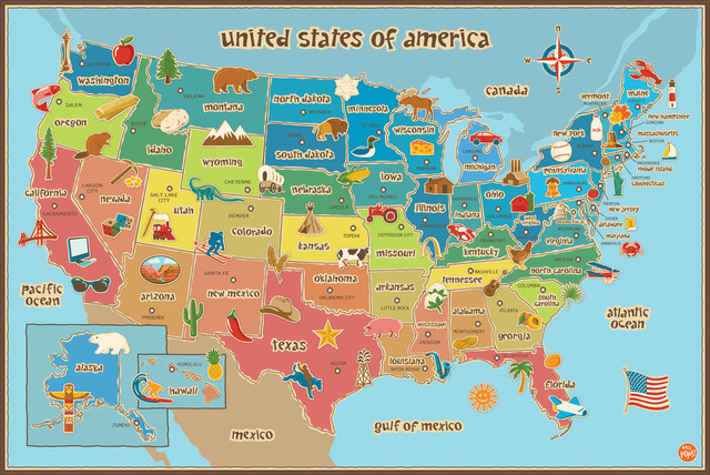 Kids' USA Dry-Erase Map Wall Decal - Contemporary - Kids Wall Decor ...