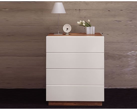 MASHstudios HB Dresser - Conceal your wardrobe in this beautifully crafted 4 drawer HB Dresser by MASHstudio. Aluminum wrapped solid wood drawer fronts with side finger pulls and a undermounted door slide, give this piece a clean minimalist approach.