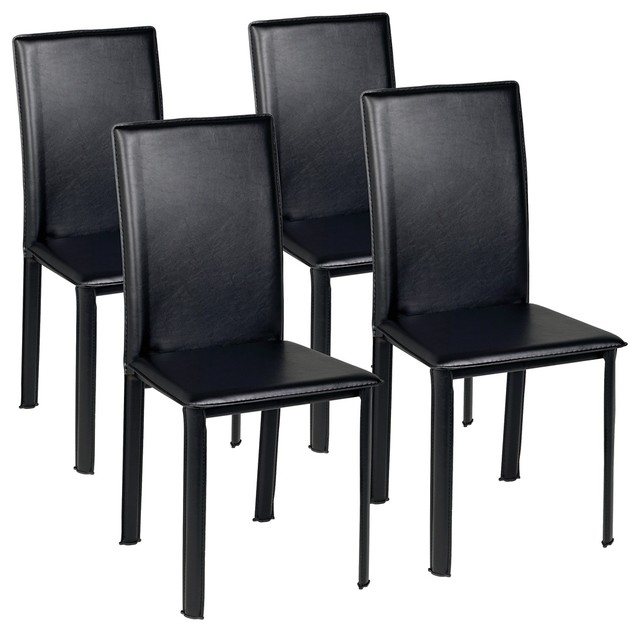 Set Of Four Zuo Arcane Black Leather Dining Chair Contemporary Dining Cha