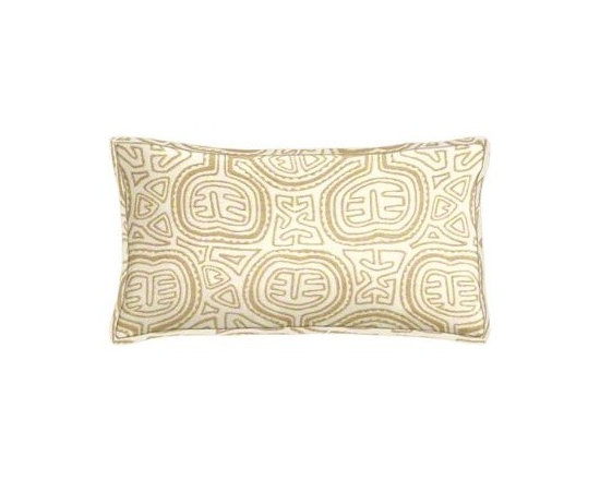 "Cushion Source - Sunbrella Kuna Sand Outdoor Lumbar Pillow - The 20"" x 12"" Sunbrella Kuna Sand Outdoor Lumbar Pillow features an ethnic-inspired design in neutral shades of tan, off-white, and cream."