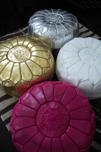 Moroccan Leather Pouf mediterranean-footstools-and-ottomans