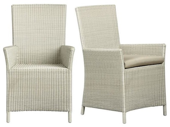 Captiva Seaside White Arm Chair and Cushion Contemporary Outdoor Lounge C