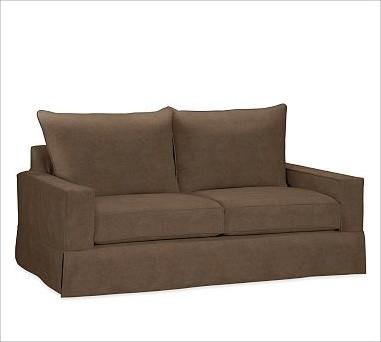 PB Comfort SquareLoveseat Knife-EdgeEveryday VelvetMochaPoly traditional-sofas