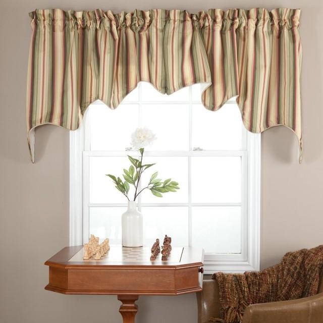 Ellis Curtain Mateo Stripe Lined Duchess Valance - MATEO-DUCHESS-BASIL contemporary-window-treatments