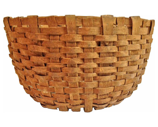 Utility Basket - Early nicely hand woven utility basket from upstate New York State. Great detail in the weaving and well constructed.